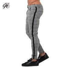 824f05cb05 Gingtto hombre Chinos Slim Fit pantalones para hombres Chino pantalones a  cuadros de moda de diseño