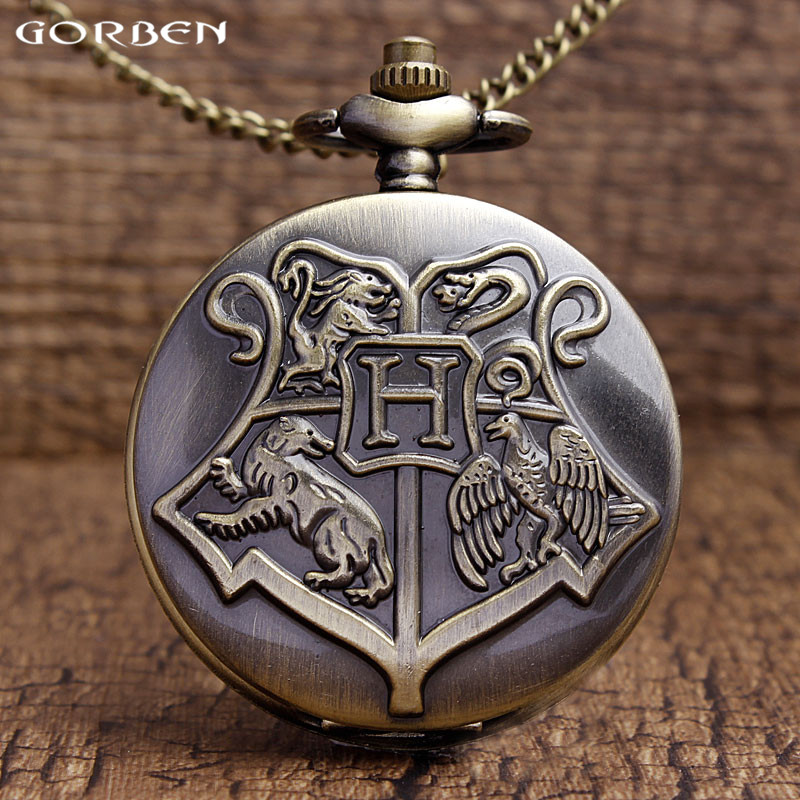 Retro Hogwarts School Bronze Pocket Watch Harry Potter Quartz Pocket Watches Men Women Gifts With Chain Necklace Children P305 stylish harry potter felixfelicis necklace for women