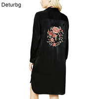 Womens Casual Back Floral Embroidery Blouse Ladies New Fashion Long Sleeve Splits Black Long Shirt Tops