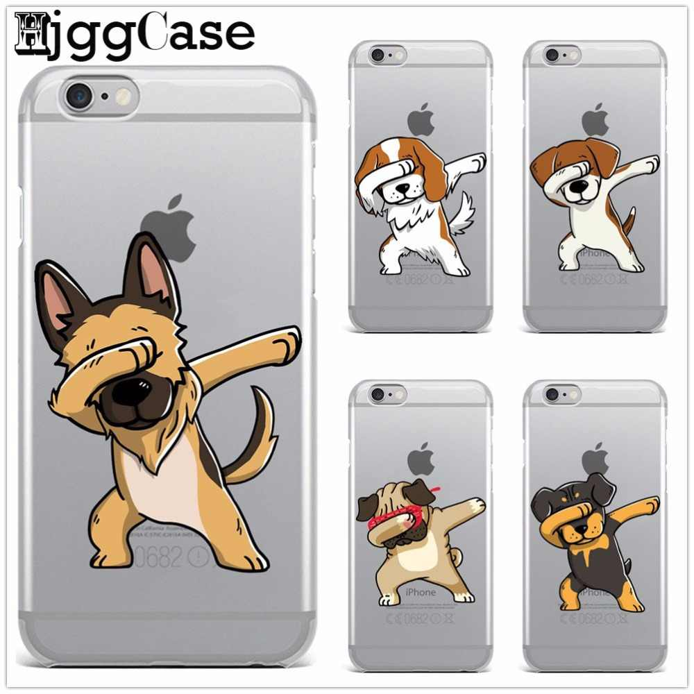 Case for iPhone 8 funny animal dancing dog soft silicone phone cover Case for iPhone 6 5 5S SE 6S 6Plus 6SPlus 7 7Plus 8Plus X
