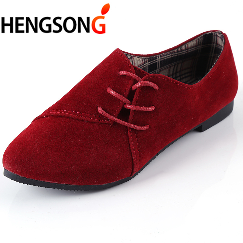 fa981bb2c4afc HENGSONG Women Fashion Flat Shoes Shoes Casual Solid Color Nubuck Leather Lace  Up Round Toe Sapatilhas zapatos mujer TR913120