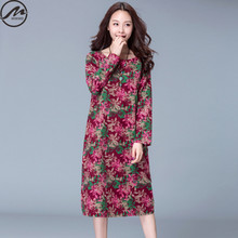 MIWIMD Big Size Women's Autumn Dresses 2017 New Fashion Casual Loose Pockets Printing Long Sleeves Cotton Linen Vintage Dress