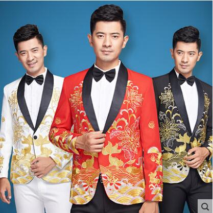Singer Star Style Dance Stage Embroidery Clothing Men Suit 2019 Mens Wedding Suits Costume Groom Formal Dress Red White Black