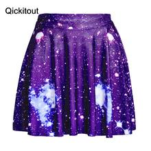 Wholesales Hot Sexy Women Elegant Blue Galaxy Space star SKATER SKIRTS -LIMITED Digital Print Ladies Slim sexy SKIRTS(China)