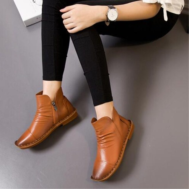 New casual Da chính hãng booties của phụ nữ Mùa Thu thời trang mùa đông nóng retro phẳng khởi động của phụ nữ Thoải Mái ổn định của mẹ giày