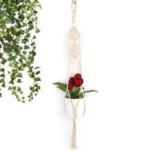 Винтаж стиль ручной вязки хлопок и вешалка конопли веревки растений висит цветочный горшок как Офис Дисплей Сад Крытый Парк Открытый