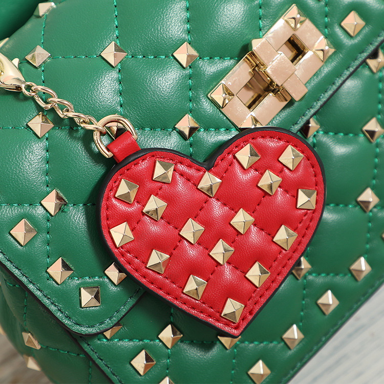 Heart charms red color 100% genuine leather luxury brand rivets Bag Accessories ornament  Heart charms red color 100% genuine leather luxury brand rivets Bag Accessories ornament