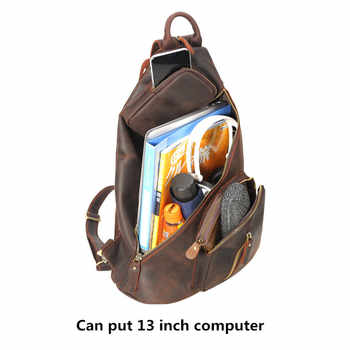 Men\'s Backpacks Large Capacity Chest Bag USB Charging Backpack Shoulder Bags Retro Crazy Horse Leather First Layer Leather Male
