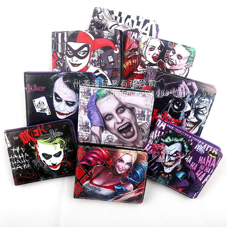 Movies Comics Suicide Squad The Joker Harley Quinn Enchantress And Bat Man Short Wallets With Card Holder Purse dc comics suicide squad the joker harley quinn cosplay short wallet pu coin card holder men women leather purse