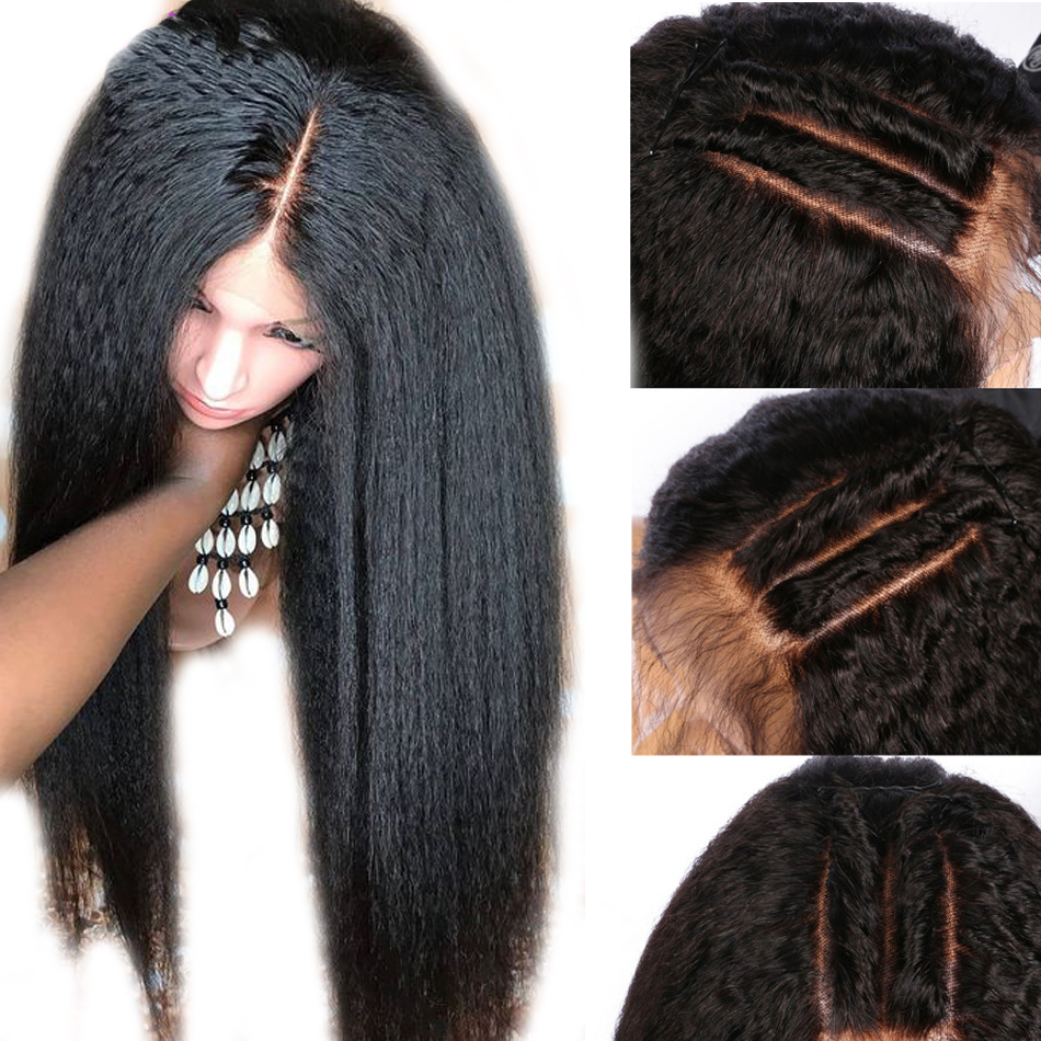 Brazilian Yaki Kinky Straight Wig Lace Front Human Hair Wigs Pre Plucked For Black Women Remy