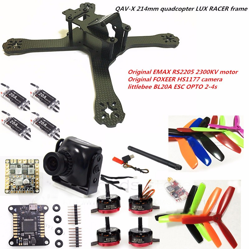 DIY FPV mini drone with camera QAV-X 214mm 3/4 frame kit EMAX RS2205 + littlebee BL20A ESC 2-4S + LUX RACER + TS5823L/TS5828L mini 130mm carbon fiber fpv quadcopter frame kits with emax 1306 4000kv motor littlebee blheli s spring 20a esc f3 f4 fc ts5823l