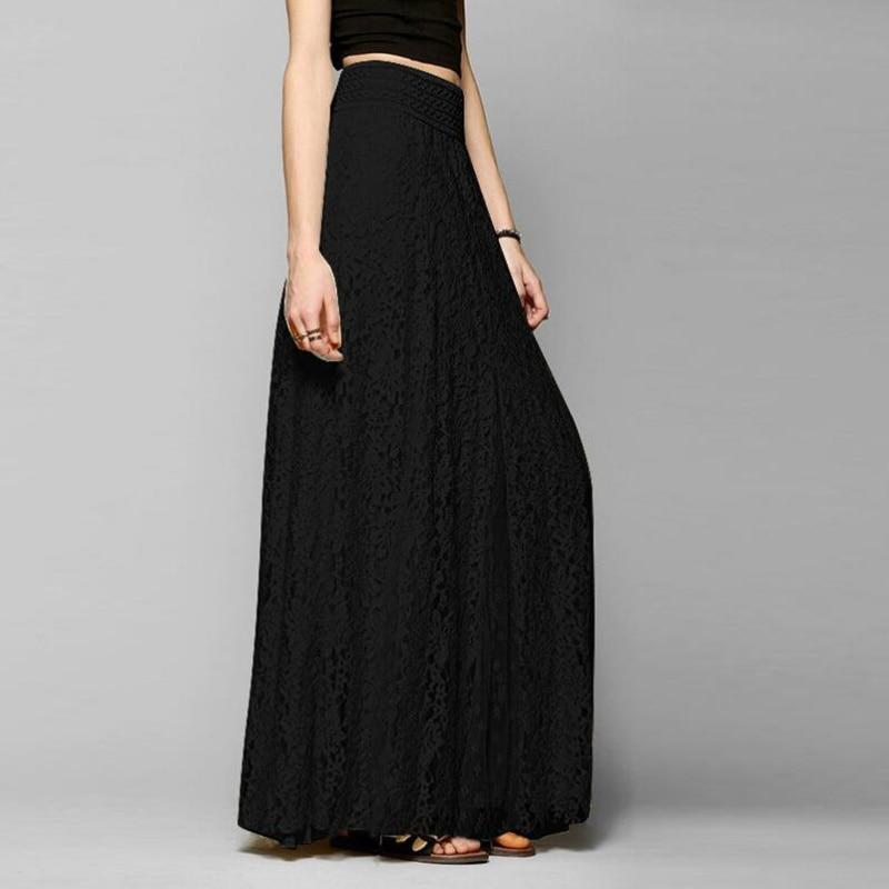 New Solid Slim High Waist Hollow Lace Skirt Summer Tulle European Style Women Long Black Skirt