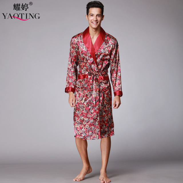 28cc91793c Men Nightgown Sleepwear Robes Bathrobes For Male Nightwear Nightdress Mens  Silk Satin Pajamas Set Pajama Pyjamas