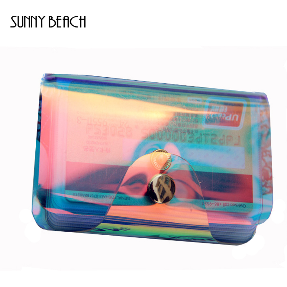 SUNNY BEACH Women Holgram Clear Credit Card Holder Business Card Holder Fun Debit Holder Mixed Color Candy Color Girl Lady
