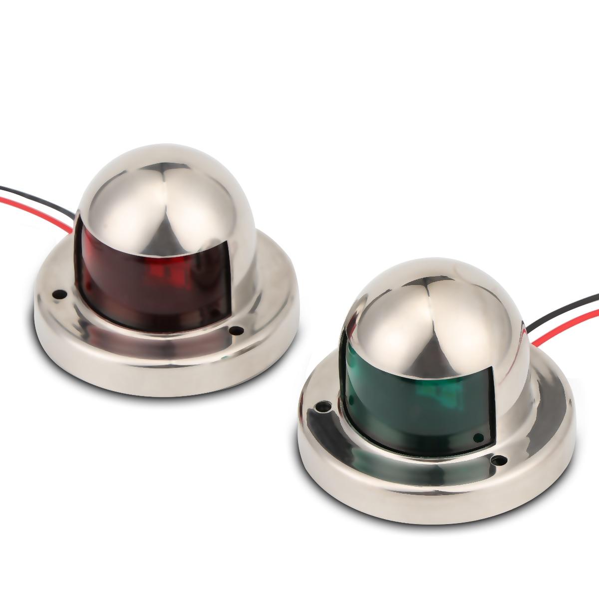 1 пара из нержавеющей стали 12 в светодиодный навигационный светильник с бантом, красный, зеленый сигнальный светильник для плавания, для морской лодки, яхты, светодиодный, с правого борта и порта