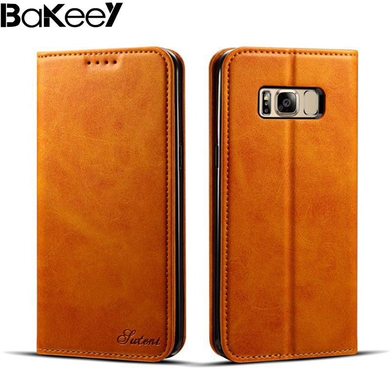 New Arrival Bakeey Full Body Magnetic Flip Wallet Card Slot Case PU Leather for Samsung for Galaxy S8