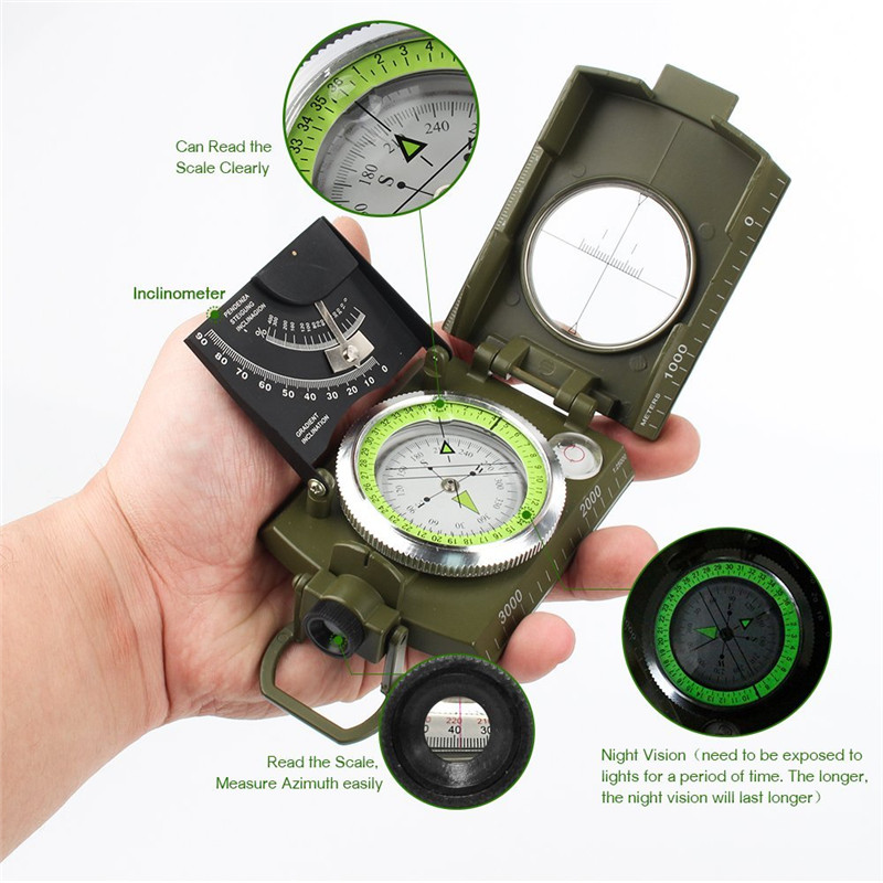 Hot Sale Multi-Function Compasses Inclinometer Horizontal Instrument Night Light Military Green Multi-Function Outdoor Tool best price mgehr1212 2 slot cutter external grooving tool holder turning tool no insert hot sale brand new