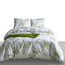 Tropical Green Leaves Pattern Polyester Bedding Set For Adults 2/3 USA UK King Queen Size Double Duvet Cover Set Pillowcases(China)