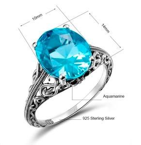 Image 5 - Joyería clásica princesa corte azul de luz de la luna cristal anillo de boda 925 Plata mujeres Vintage anillo de compromiso fino traje joyería