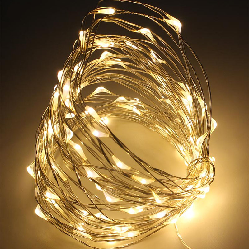 3AA Batteridriven 10M 33FT 100 LED Koppar Wire Fairy String Lights Christmas Holiday Festival Dekoration ledde ljus dekoration
