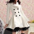 Autumn Winter New 2014 Fashion Gorgeous Elegant Full Sleeve slim Big Turn-down Collar Double Breasted Woolen Women Coat LY934