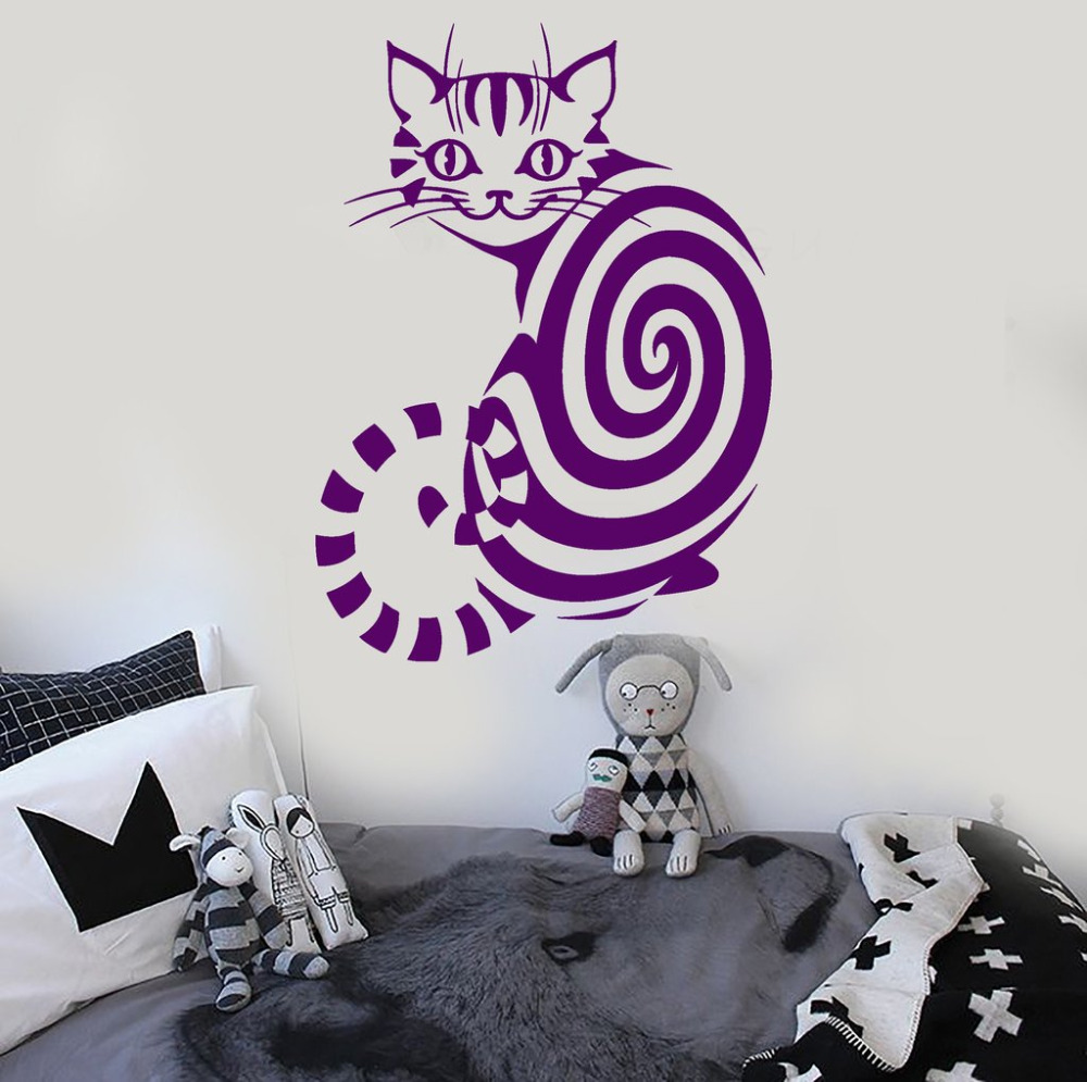Online get cheap children39s removable wall decals aliexpress cut animal wall sticker cheshire cat vinyl decals room removable wall art decoration childrens room nursery amipublicfo Gallery