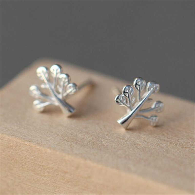 100% 925 Sterling Silver Women Jewelry Fashion Hypoallergenic Tree Stud Earrings For Women Girls Gift EH649