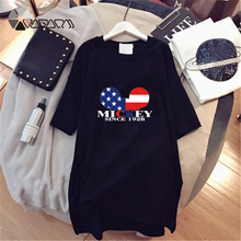 New Minnie Mickey Mouse Women Summer Dress American Flag Print Short Sleeve Loose Black White Casual Mini Big Size Dresses chicever knitted irregular summer dress female short sleeve perspective hit colors loose big size black dresses for women new