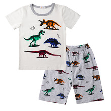 New Short Sleeve Children Pajamas Set Dinosaur Print Clothes Boy Casual Fashion Summer Jurassic World pijamas Kids