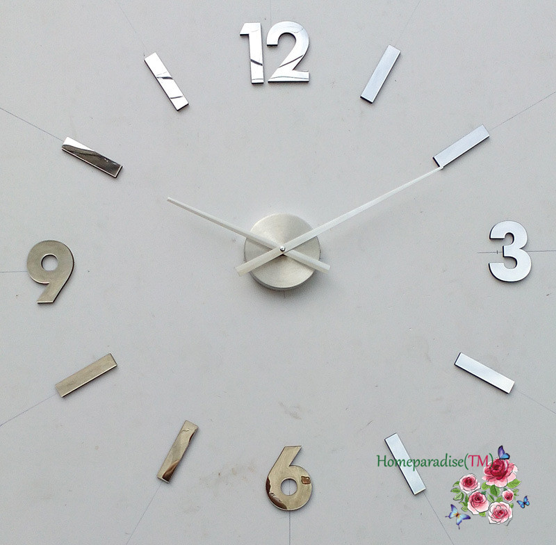 25 40 arabic numbers diy frameless quartz 3d wall clock metal stainless oversized clock living. Black Bedroom Furniture Sets. Home Design Ideas