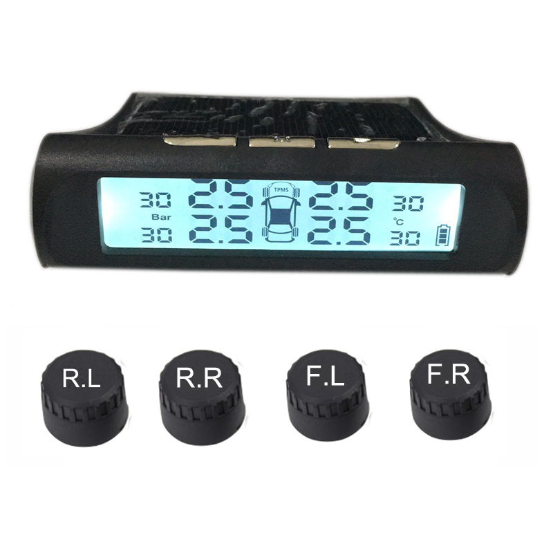 Tire Pressure Monitoring System Tpms Sensor Solar Car Security Smart Tyre Control Wireless 4 Wheels External Sensorsearlywarning in Tire Pressure Alarm from Automobiles Motorcycles