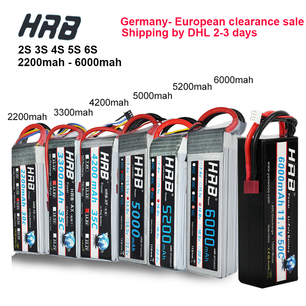 Clearance Sale HRB RC Lipo Battery 2S 3S 4S 5S 6S 7 4V 11 1V 14 8V 18 5V  22 2V 2200mah 2600mah 3300mah 5000mah 6000mah DHL Free