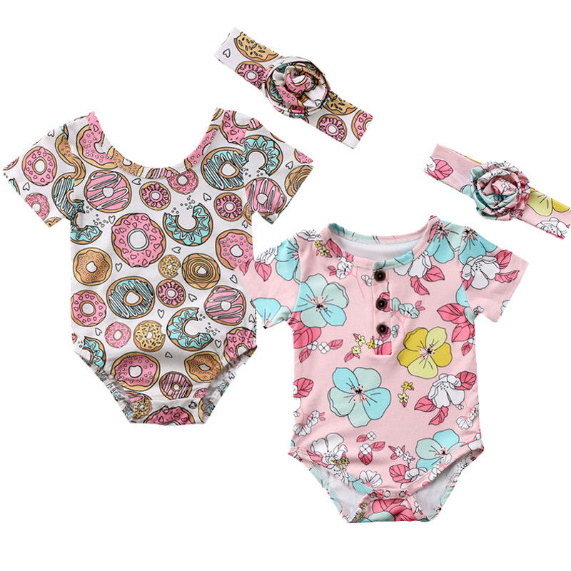 Cute Newborn Baby Girl Summer Floral Donut Print Short Sleeve Cotton Romper Jumpsuit Headband 2PCS Outfits Sunsuit Baby Clothes 2pcs children outfit clothes kids baby girl off shoulder cotton ruffled sleeve tops striped t shirt blue denim jeans sunsuit set