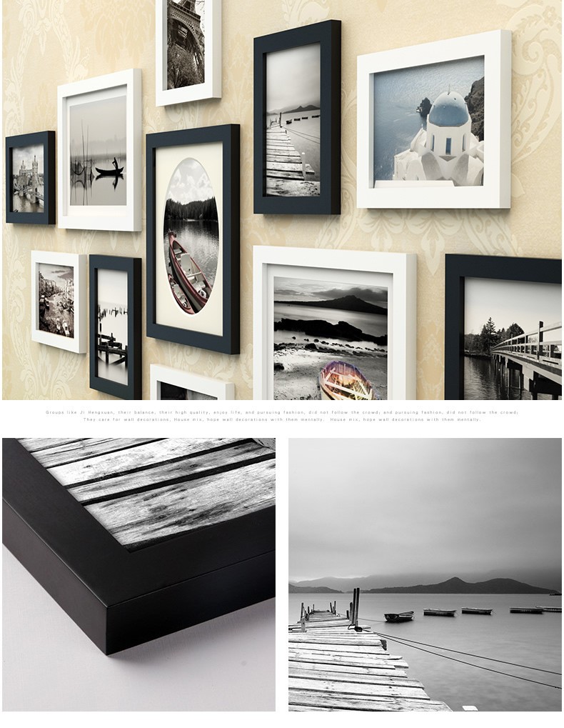 Classical 11pcsset black white frame for wall decorationwooden 11 pcsset black photo frames for picturenew wooden frames for wallwall collage photo frame whitesquare wooden picture frames jeuxipadfo Image collections