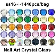 1440 шт SS16(3,8-4,0 мм) разноцветные плоские с обратной стороны клей на не горячей фиксации Стразы 3D дизайн ногтей украшения блестящие стразы