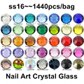 Comercio al por mayor 1440 UNIDS SS16 (3.8-4.0mm) Multi Colores Pegamento Espalda Plana Piedras 3D nail art decoration glitter Hotfix strass