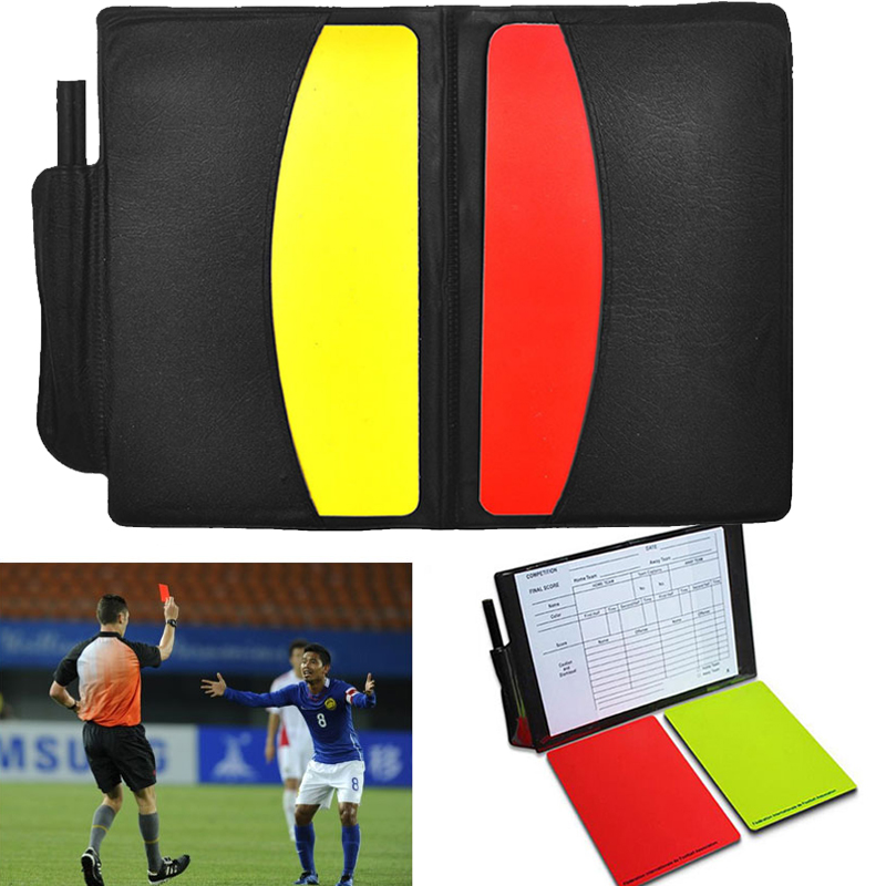 Football Referee Case With Pencil Colorful Soccer Yellow Red Card Equipment Great PVC Sport Pro Standard Bookings