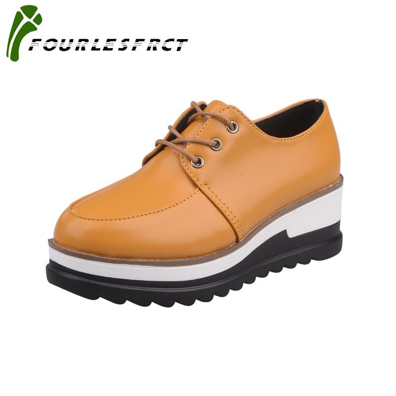 Size 35-39 Women flats shoes  Fashion Round Toe Lace-Up Med Wedges Woman Shoes Black White Yello Leisure hot sale women shoes fashion women shoes woman flats high quality comfortable pointed toe rubber women sweet flats hot sale shoes size 35 40