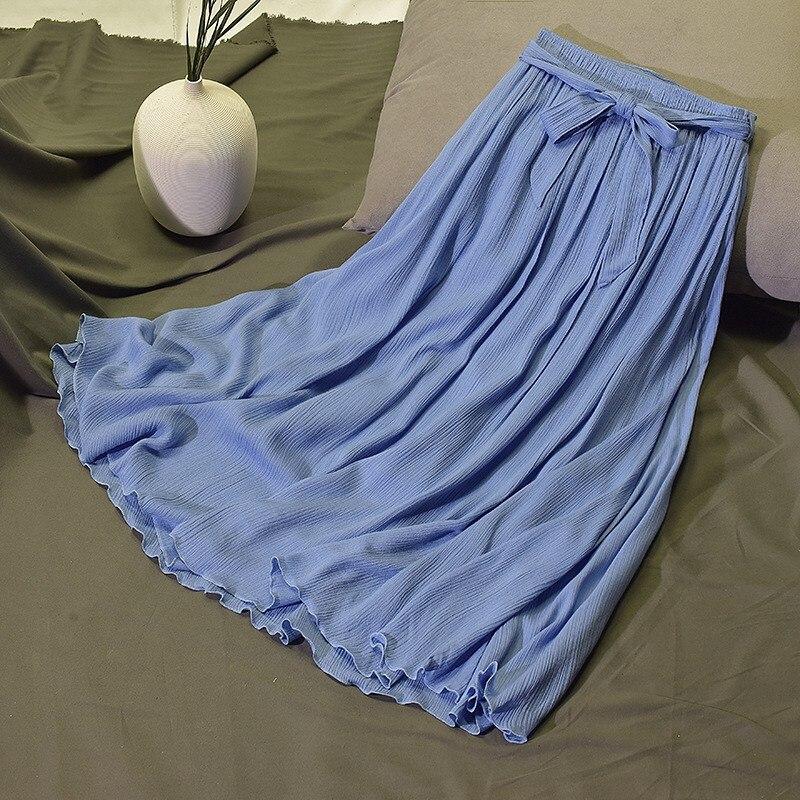 Kobiet w stylu Vintage plisowane Midi długa spódnica panie