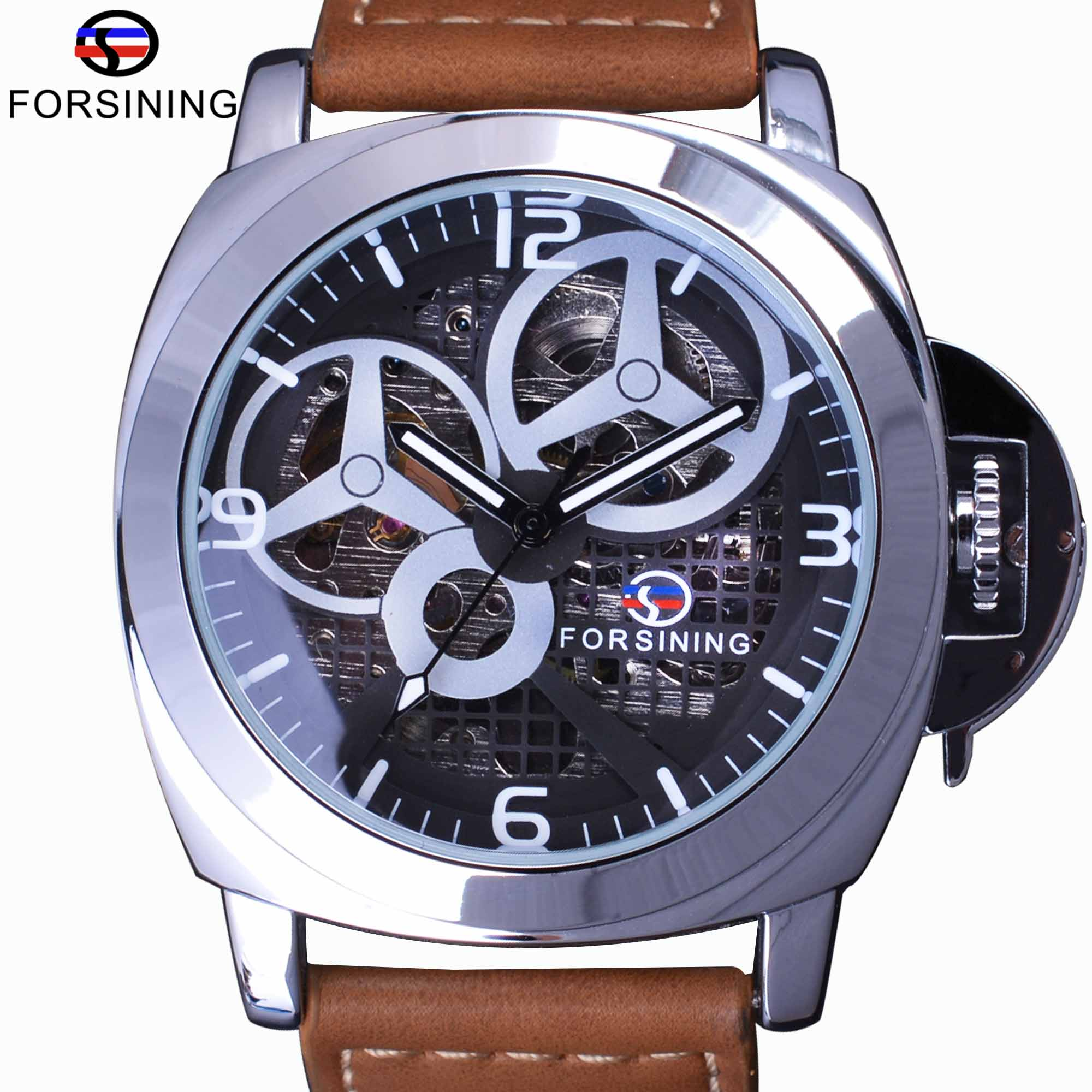 enforcement steel military item design work silver automatic skeleton open brand fashion display watches transparent top sport male casual clock diamond forsining luxury mechanical watch men law mens stainless