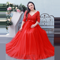 It's Yiiya Formal Evening Dresses V Neck Plus Size Bow Tulle A Line Floor Length Fashion Designer Formal Dress DM001