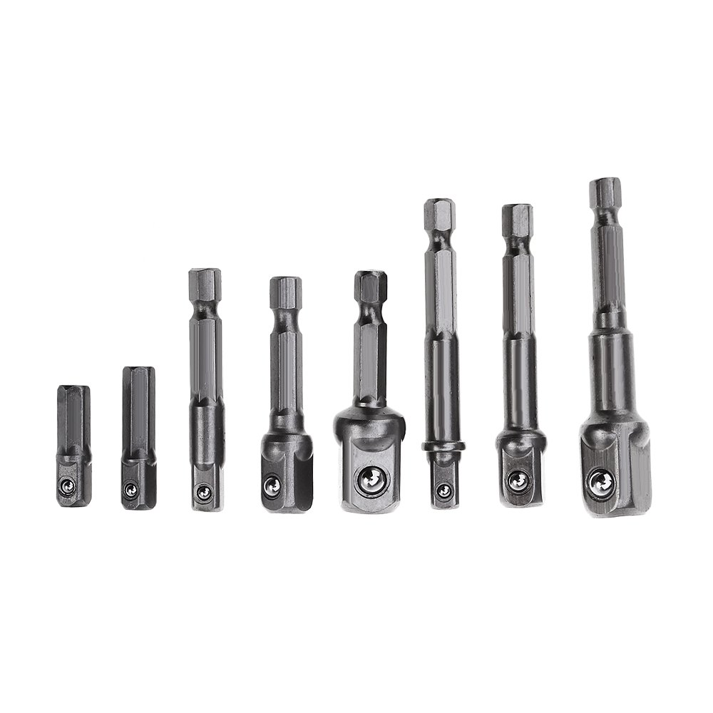 High Precision 8 Sizes Chrome Vanadium Steel Socket Adapter Power Hex Shank Set Extension Drill Bits Metal Drilling Center Drill 46pcs 1 4 inch high quality socket set car repair tool ratchet set torque wrench combination bit a set of keys chrome vanadium