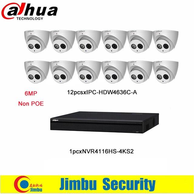 Dahua NVR комплект включает 16CH 4 К и H.265 видеомагнитофон NVR4116HS-4KS2 и ip-камеры 6MP H.265 IPC-HDW4636C-A Встроенный микрофон DVR K