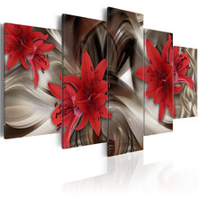 Printed HD Modern 5 Pieces Panel Printing Wall Art Canvas of Luxury Red Flowers