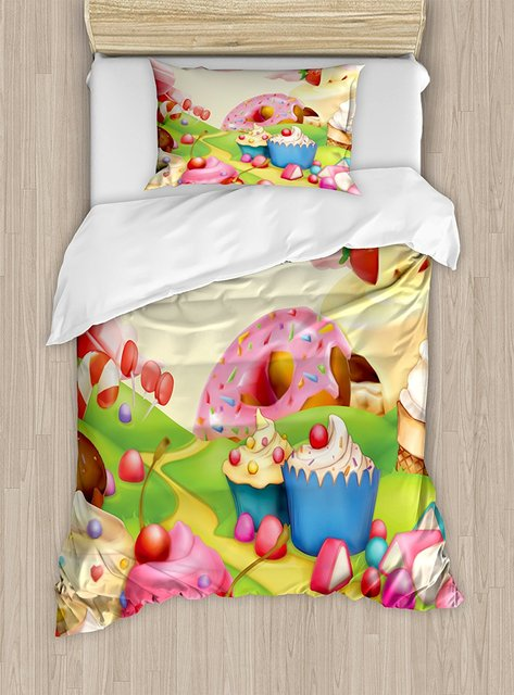 Duvet Cover Set Yummy Donuts Sweet Land Cupcakes Ice Cream Cotton Candy  Clouds Kids Nursery Design