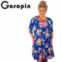 Gosopin Floral African Print Dresses Plus Size Sleeve Korean Women Dress Blue Autumn Women Dress Elegant