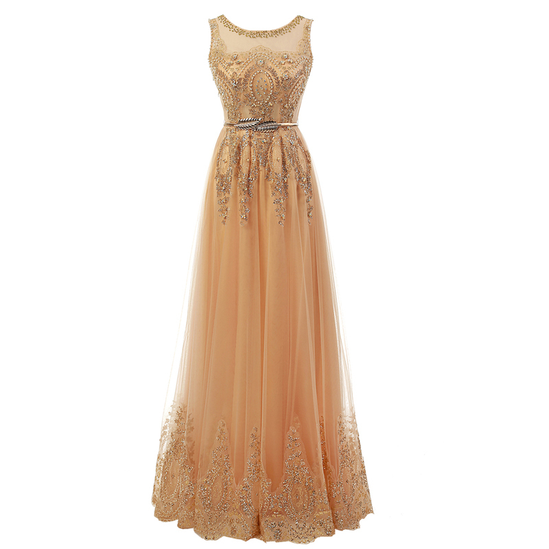 Long elegant luxury party prom dresses women gold red for Formal dresses for weddings cheap