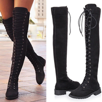 Autumn And Winter Europe And The New 35 43 Over The Knee Long Boots Round Head Front Cross Strap Flat Roman Women's Boots