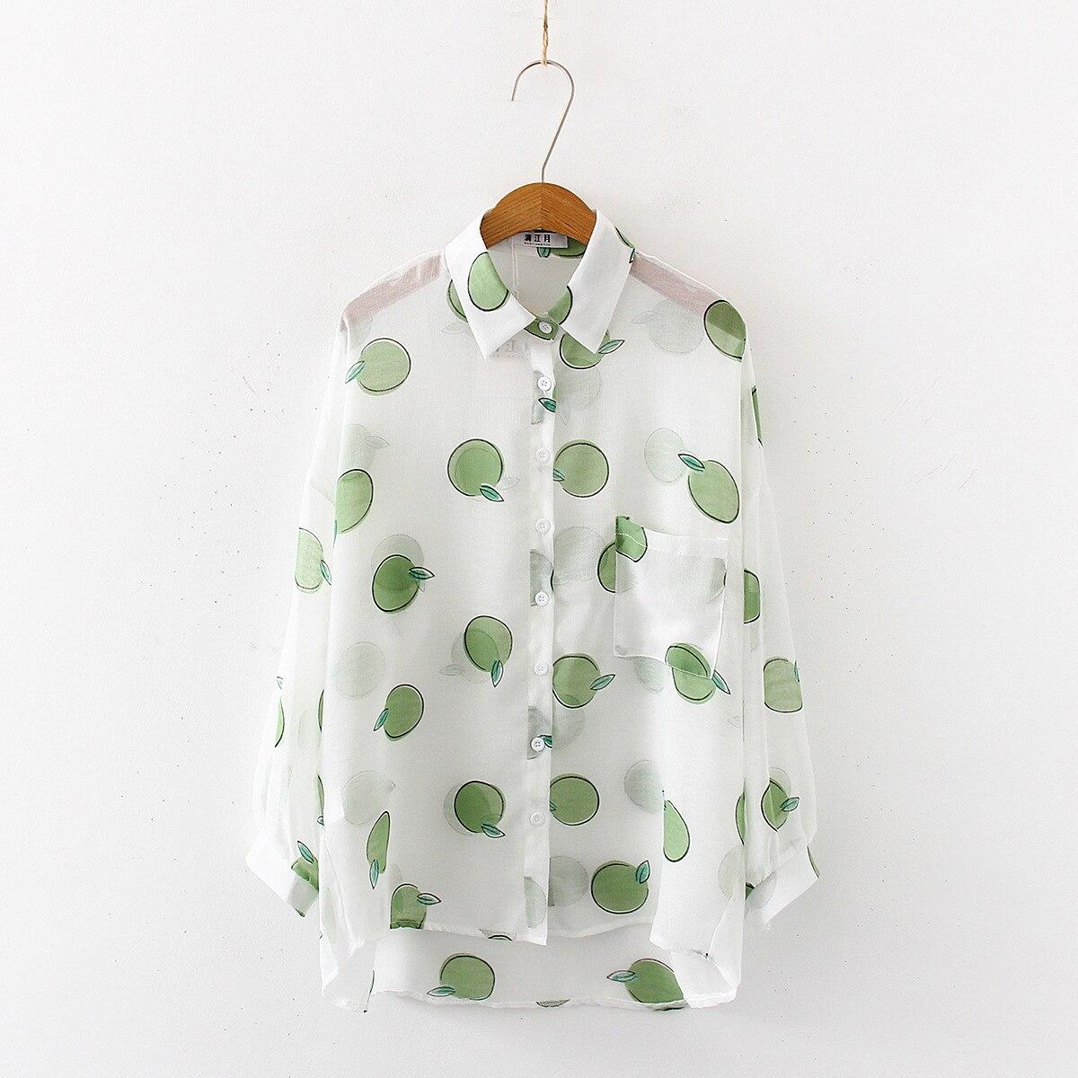 2019 New Women Fasihon Long Sleeve Sweet Lemon Printed Loose Cotton Blouses Shirts Summer Casual Office Shirt Tops Blusas