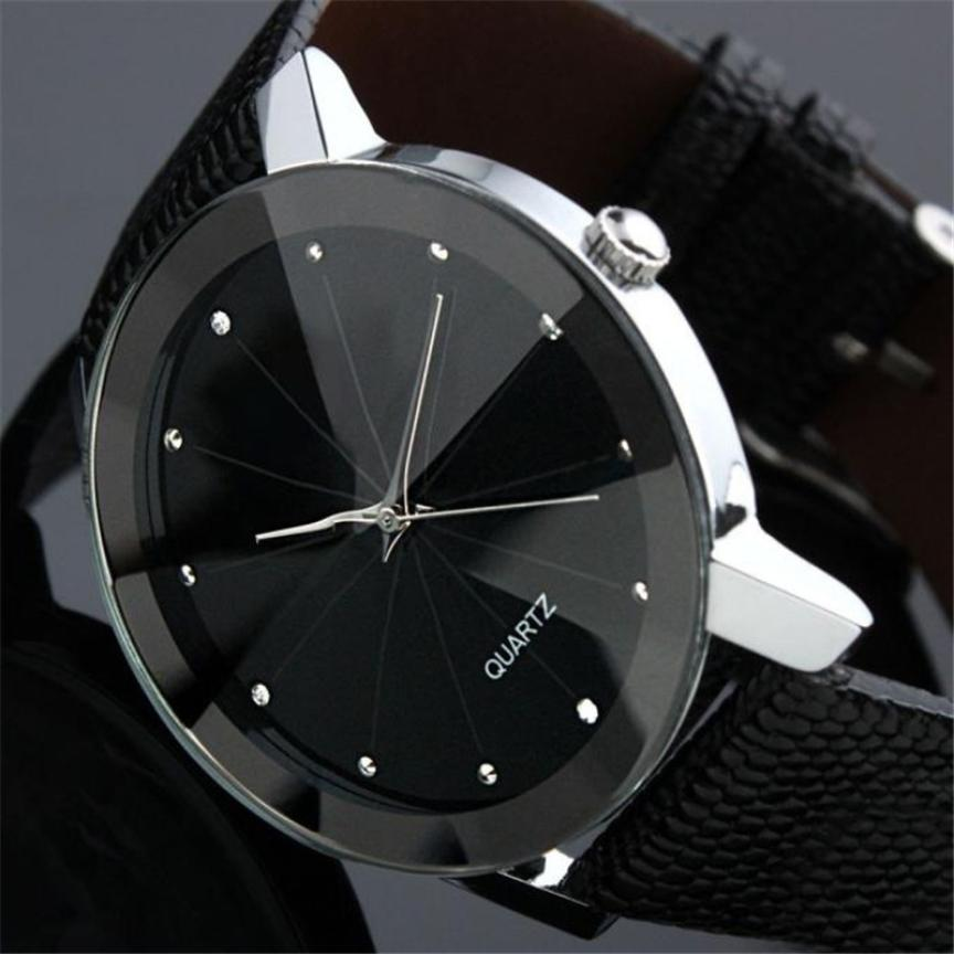 The Latest Fashion Men's Stainless Steel Dial PU Leather Strap Quartz Movement Watch Black Simulation Round Pin Buckle Watch #W